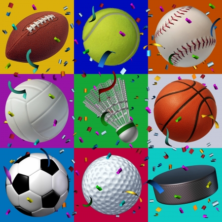 Sports celebration seamless pattern with confetti and streamers in the air as a festive design element for a birthday with leisure sport equipment as a football baseball basketball volleyball hockey tennis golf and soccer  photo