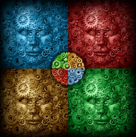 coming together: Working business team coming together as a strong connected network as a concept and metaphor for organization partners in unity as a group of gears and cog wheels shaped as human heads in a blue red gold and green checkerboard design pattern  Stock Photo
