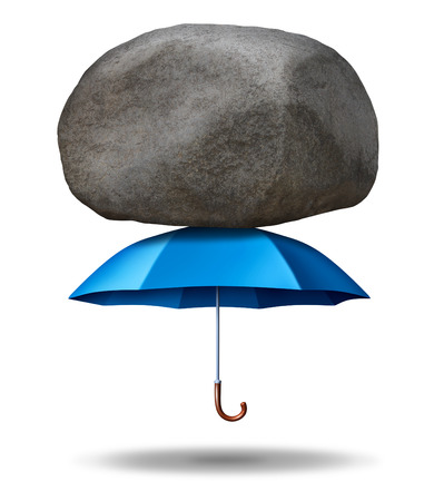 protection risks: Strong protection business concept with a strong blue umbrella supporting and shielding a giant rock or boulder from falling down as an inegrity  symbol of security trust and strength on a white background