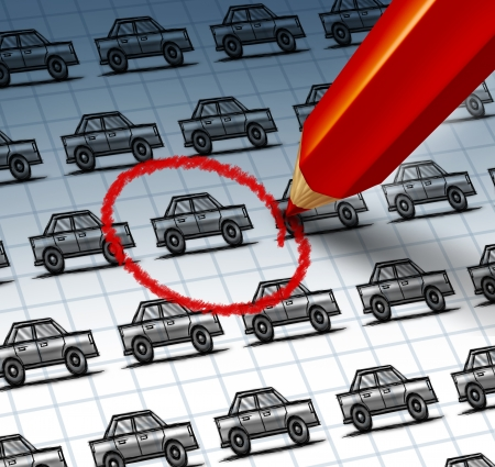 used: Car shopping concept and auto insurance search symbol with a red pencil crayon highlighting a drawing from a group of cars as an icon of finding the perfect vehicle at a used or new dealership with internet searching