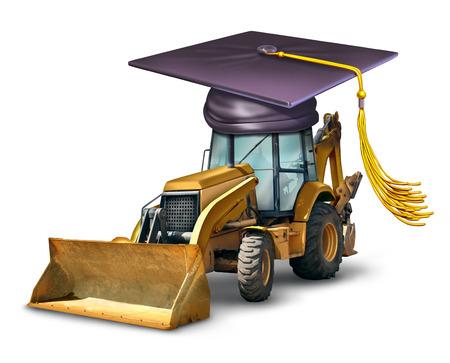 건축 학교 건축 구조를 구축 전문 개발의 상징으로 졸업 모자 또는 박격포 보드를 입고 불도저 산업 기계 장비 교육