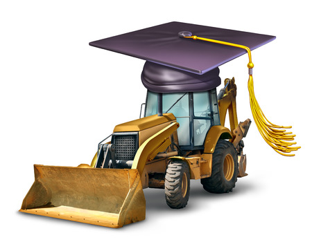 machinery: Construction school and industrial machinery equipment training with a bulldozer wearing a graduation cap or mortar board as a symbol of professional development in building architectural structures  Stock Photo