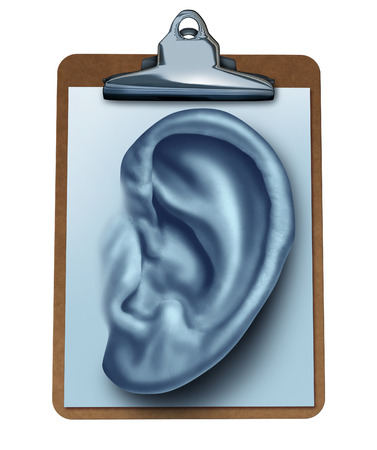 reviews: Customer Survey business concept as an office clipboard with a note paper in the shape of a human ear as a metaphor for listening to the clients opinion and satisfaction feedback found in reviews and service ratings isolated on white