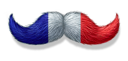 french culture: French mustache symbol with the flag of France as an icon of a European macho male culture and concept for parisian restaurant and cuisine on a white background