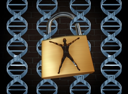 cloning: Genetic prison and human engineering of DNA as the biotechnology science concept for unlocking the secrects of the human genome to free humans of disease and inherited illness through scientific research with dna strands as jail bars and a lock shaped as  Stock Photo