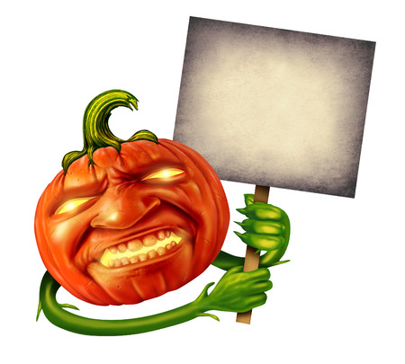 Pumpkin head character with human expression and green plant hands holding an old  grunge blank banner sign as a jack o lantern Halloween message with a scary expression during autumn on a white background  photo