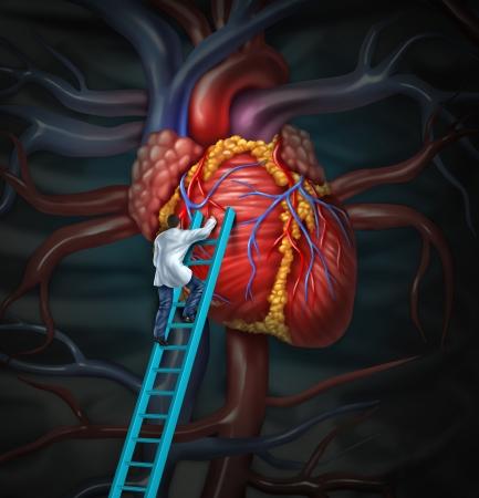 Hart arts therapie gezondheidszorg en medische concept met een chirurg of cardioloog beklimmen van een ladder te controleren en inspecteren het menselijk hart anatomie van een ziekenhuis diagnose behandeling