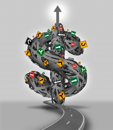 difficult journey: Money decisions business concept with a group of tangled roads and streets with traffic signs shaped as a three dimensional dollar sign as a financial guidance metaphor for the difficult journey and path to wealth and success