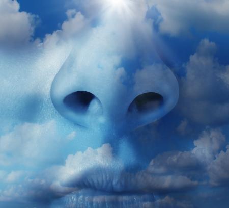 Concepto de medio ambiente de aire limpio con un primer plano de una nariz humana con un cielo azul y las nubes naturales textura como un símbolo de las enfermedades respiratorias y problemas de salud ambiental en cuanto a la contaminación del aire y gases de efecto invernadero