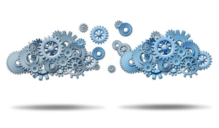 archiving: Cloud networking  information technology concept with two groups of connected gears and cog wheels transfering and exchanging data in a virtual database storage network on a white background  Stock Photo
