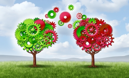 growing partnership: Communication exchange partnership and teamwork joining forces symbol as two growing trees shaped with gears and cogs as a business metaphor andn concept of network connections through technology transfer on a summer sky  Stock Photo