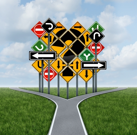 Confusing direction decision questions deciding on a clear strategy for solutions in business with a crossroads path to success choosing the right strategic plan with the challenge of a group of confusing traffic signs as a guide  photo