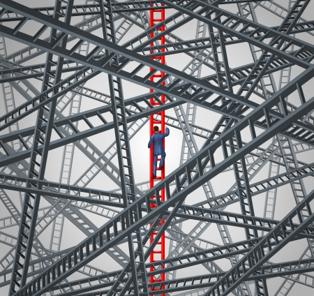 Determined focus business concept with a courageous businessman climbing up a red success ladder while avoiding the chaos of confusing and dangerous distractions as a metaphor of clear direction leadership  photo
