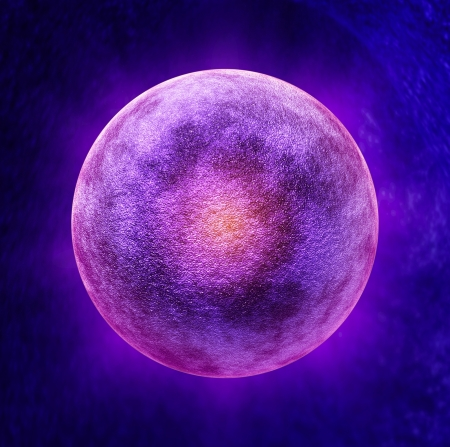 ovum: Human egg cell medical symbol as a three dimensional microscopic reproductive health concept representing a single ova in the ovulation process for reproduction inside the anatomy of the fertile female body during the menstrual cycle