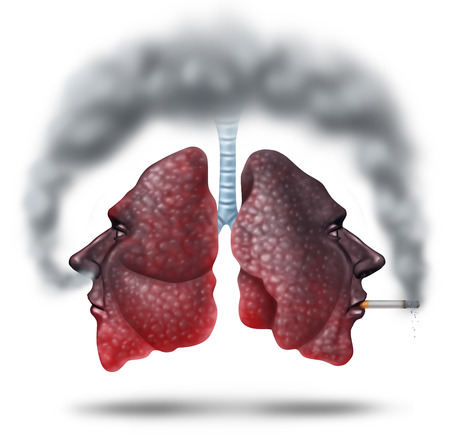 cancerous: Second hand smoke health care concept for cigarette smoking risks with human lungs in the shape of a head with one smoker and another innocent victim lung breathing the toxic fumes turning the organ black