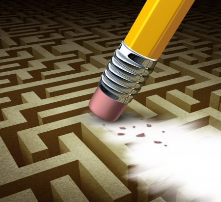 solved maze puzzle: Clearing the path business solutions as a metaphore for removing a complicated maze by a pencil eraser as a concept of innovative thinking for financial success  Stock Photo