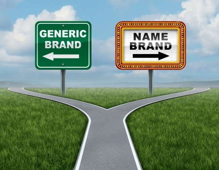generic: Generic brand versus brand name as a concept for marketing with two competing street signs at a cross roads or fork in the road metaphor for advertising and consumer choice in purchasing a no name product or choose branded goods and services