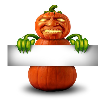 Halloween character message sign as a pumpkin with human expression and plant body and hands holding a blank banner sign as a scary jack o lantern Halloween message or autumn on a white background  photo