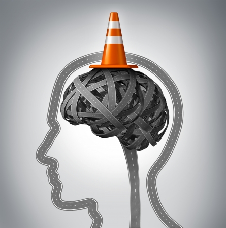 finding the cure: Human brain repair as neurology therapy and memory damage medical concept with an orange traffic cone as a safety hat metaphor on a group of tangled roads in the shape of a human head  Stock Photo