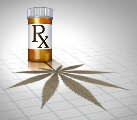 Medical marijuana health care concept with a prescription pharmacy medicine bottle casting a shadow in the shape of a cannabis leaf as a metaphor for alternative therapy as natural herbal drug use  photo