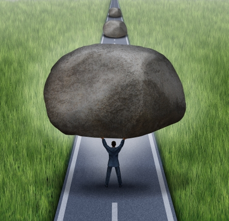 Removing obstacles business concept as a businessman clearing a path to success by removing large rocks from a road that are blocking the journey to success as a symbol of financial guidance and freedom  photo