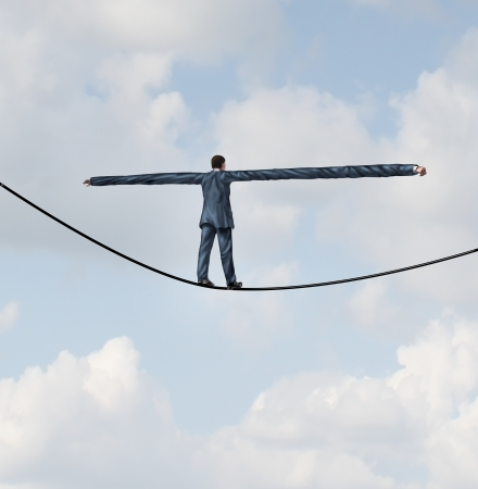 stretched out: Adjust to risk with leadership solutions as a businessman with extremely stretched out arms for better balance walking on a tight rope to succeed at the road ahead as a business concept of adapting to challenges for strategy success
