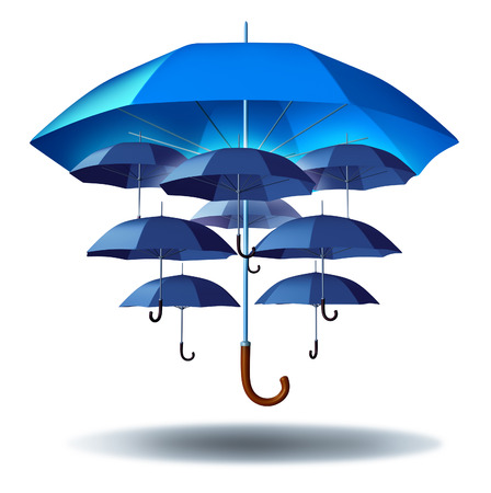 strong: Business group protection and community security concept with a giant blue umbrella metaphor protecting multiple smaller umbrellas connected together in a social network as a symbol to protect team members