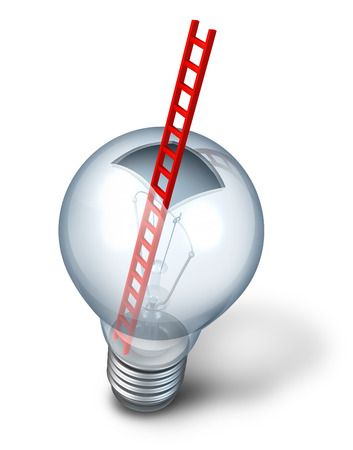 Creative access as an open glass light bulb with a red ladder inside as a metaphor for thinking outside the box and creative discovery with entry to the  inner workings of innovative success strategy on a white background