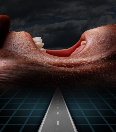 Geriatric medicine and elderly suffering solutions and senior pain or distress with a road leading to a side view close up of an old retired person screaming and suffering begging for help as a health care symbol