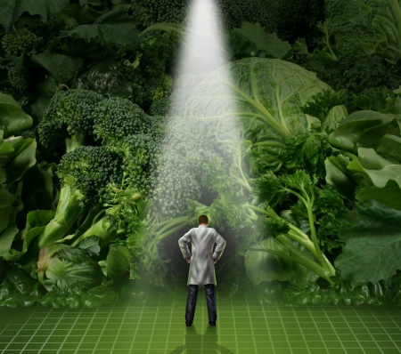 Healthy eating medical advice concept with a doctor standing in front of a wall of green vegetables as broccoli kale and cabbage as a health care symbol for nutritional food guidance from a nutritionist or dietician professional  photo