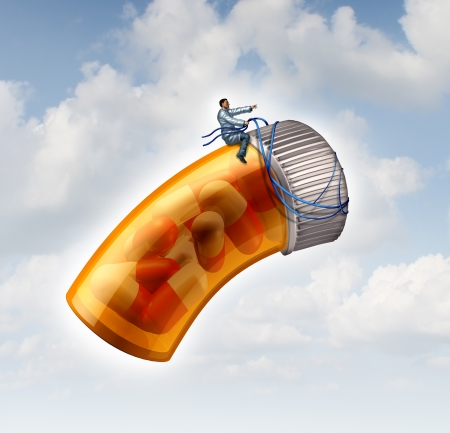 Medical prescription guide concept as a doctor or pharmacist taking control with a harness a flying pill bottle on a cloudy sky as a metaphor for health care drug guidance through leadership and scientific research  Stock Photo - 23446882