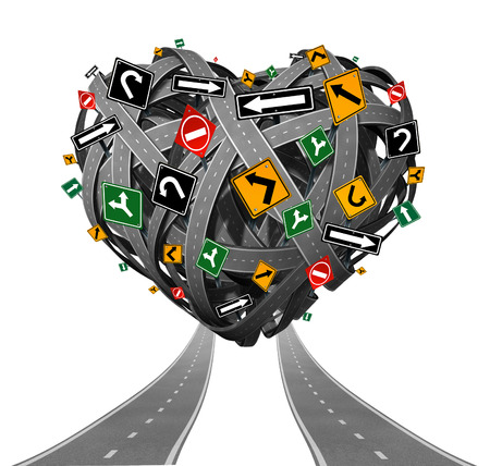 Relationship advice guidance and love counseling concept with a group of tangled roads shaped as a heart with confusing traffic signs as a metaphor for problems in intimate relations and romantic struggle on white  photo
