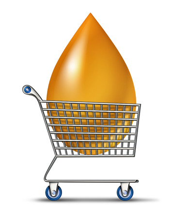 energy market: Shopping for fuel as a business concept for the oil and gas industry prices as a metal shop cart transporting a giant liquid drop of gasoline petroleum product as a symbol of  the energy market  Stock Photo