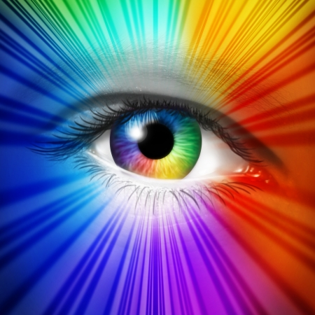 Spectrum Eye concept as a human iris and pupil with reflective multicolored starburst effect as a metaphor for fashion beauty and cosmetics or the power of creative vision