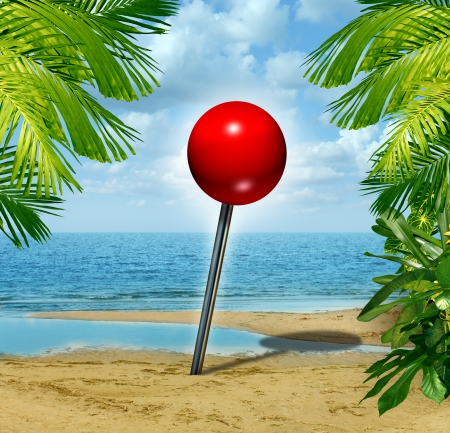 best location: Vacation spot and holiday travel planning search concept with a location red pushpin  on a tropical sandy beach as a metaphore for tourism and finding the best rated escape place for relaxation