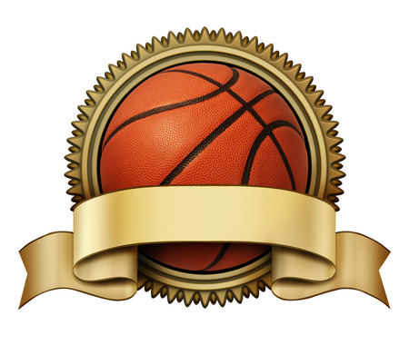 international basketball: Basketball award crest on a gold medallion for competition tournaments with a blank area ribbon for copy space as a symbol of fitness and sports team victory isolated on a white background