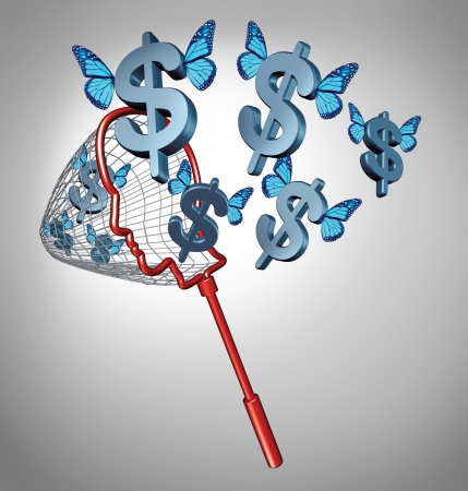Earn money concept and smart investing financial symbol as a business metaphor with a net shaped as a human head catching flying dollar signs with blue butterfly wings as an icon of  building wealth  photo