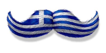 지중해 레스토랑 및 흰색 배경에 그리스 전통이나 요리에 대한 유럽의 사나이 남성 문화 나 개념의 아이콘으로 그리스의 국기 그리스 콧수염 상징
