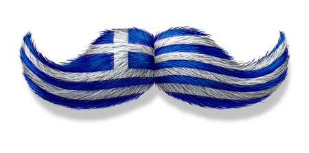 Greek mustache symbol with the flag of Greece as an icon of a European macho male culture or concept for a mediterranean restaurant and Hellenic tradition or cuisine on a white background