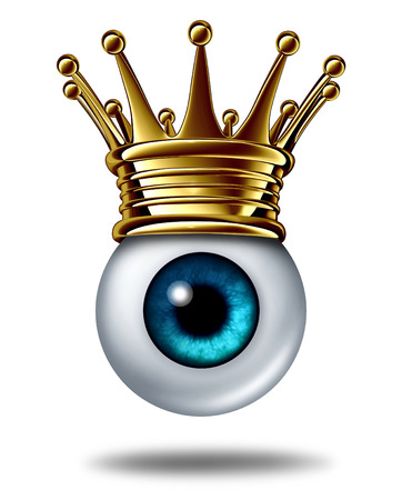 best security: Vision leadership business concept symbol and best leader in security monitoring as a human eyeball wearing a gold crown on a white background as an icon of innovation success  Stock Photo