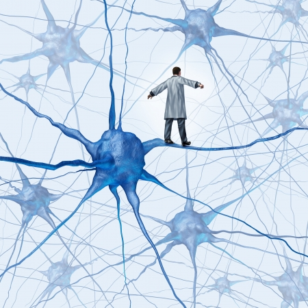 neuron: Brain research challenges as a medical concept with a science doctor walking on a human neuron connection as a highwire tight rope metaphor through a maze of neurons as an icon of finding a cure for autism alzheimers and dementia  Stock Photo