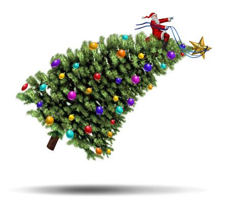 hustle: Corsa di Natale e il trambusto concetto di vacanza invernale con Santaclause seduto su un albero di pino decorati che sta volando in aria di essere guidato con una cintura come una slitta magica di Babbo indossa un abito rosso su sfondo bianco Archivio Fotografico