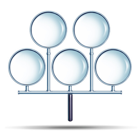combined effort: Combined search effort as an  internet  technology concept with a network group of connected magnifying glasses as a partnership searching and credit check security inspection metaphor on a white background