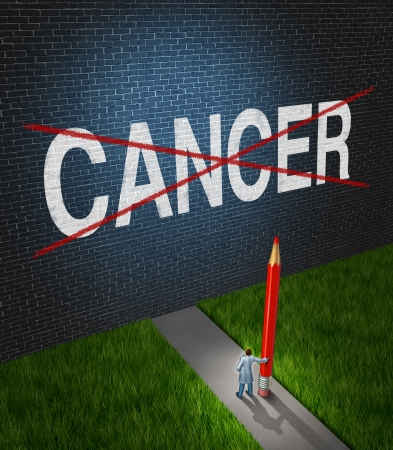 killing cancer: Fight cancer and treatment for cancerous tumors health care symbol with a medical metaphor of hope with a doctor or hospital research scientist holding a red pencil crossing out the disease word painted on a brick wall  Stock Photo