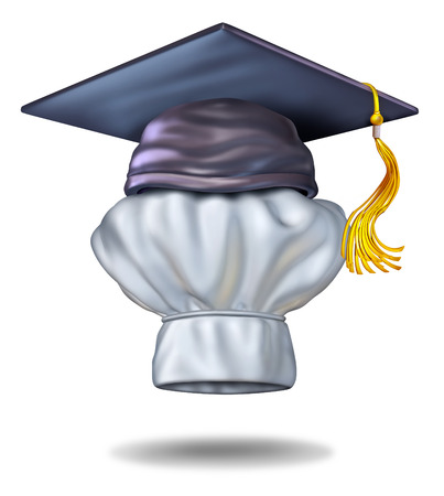 culinary arts: Food education concept and cooking school symbol with a graduation cap or mortar board on a chef hat as an icon of culinary training and learning how to cook gourmet meals for restaurants or home cuisine  Stock Photo