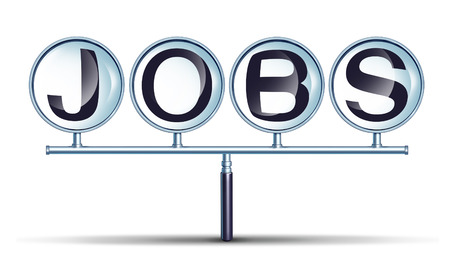 listings: Jobs And Employment business concept with a connected magnifying glass group as a network searching for career opportunities as a metaphor for finding a job and recruitment issues on a white background