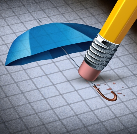 undoing: Losing protection business concept and health care security loss with an image of a blue umbrella being erased by a yellow pencil eraser as a symbol of financial trouble and a metaphor for increased risk