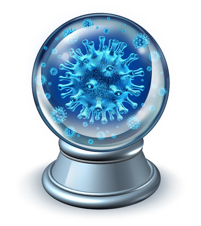 predict: Predict disease medical health care concept as a metaphor for illness forecast and prognosis with dangerouse human virus cells in a fortune teller crystal ball as a symbol of patient diagnosis for preventive medicine