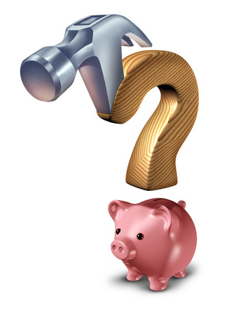 spending: Spending questions as a financial concept with a hammer  and piggy bank shaped as a question mark as a metaphor for budget management due to confusion managing credit and debt issues on a white background