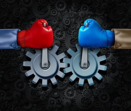 merging together: Strategic alliance and corporate partnership or business teamwork concept with two rival businessmen with boxing gloves merging together to form a competition cooperation moving gears and cogs for financial success  Stock Photo